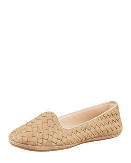 Bottega Veneta Napa Intrecciato Smoking Slipper, Sand