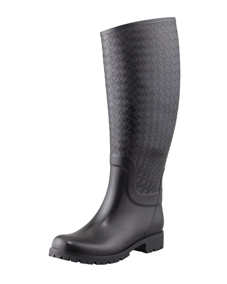 Bottega Veneta Intrecciato Rubber Rainboot, Black