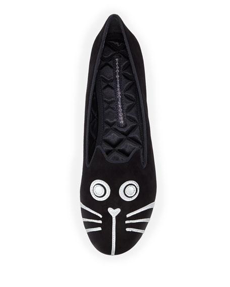 Rue Cat-Face Smoking Slipper, Black