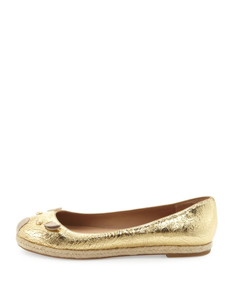 Metallic Mouse Espadrille Flat, Gold