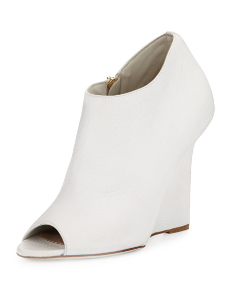 Peep-Toe Wedge Bootie, Natural White