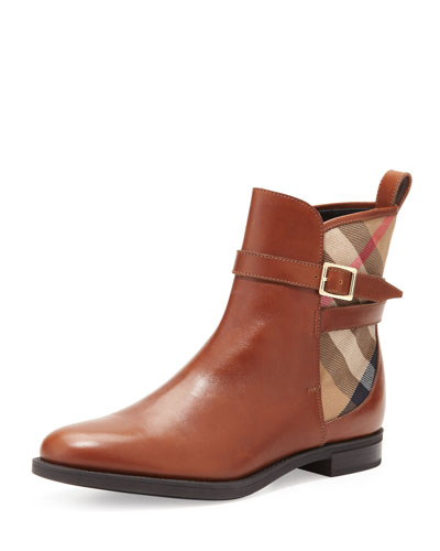 Burberry Richardson Check-Back Bootie, Chestnut
