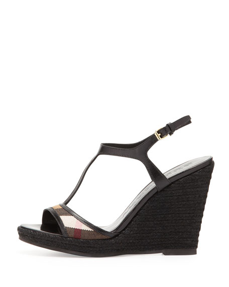 Check-Front Raffia Wedge Sandal