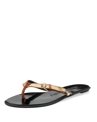 Burberry Check Leather Flip-Flop, Tan