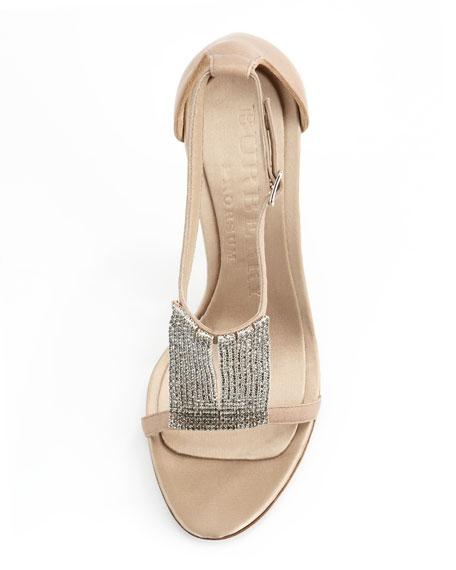 Crystal & Satin Sandal, Sand