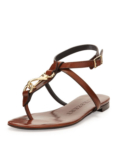 Burberry Buckle-Strap Leather Sandal, Tan