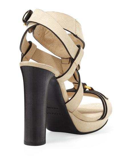 Strappy Thick-Heel Platform Sandal, Sand