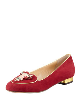 Charlotte Olympia Birthday Taurus Zodiac Smoking Slipper, Burgundy