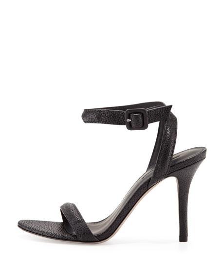 Antonia Stingray-Embossed Sandal, Black