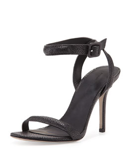 Alexander Wang Antonia Stingray-Embossed Sandal, Black