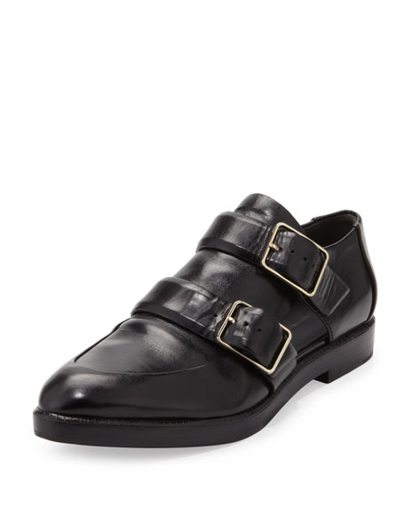 Jacquette Cutout Double-Buckle Shoe