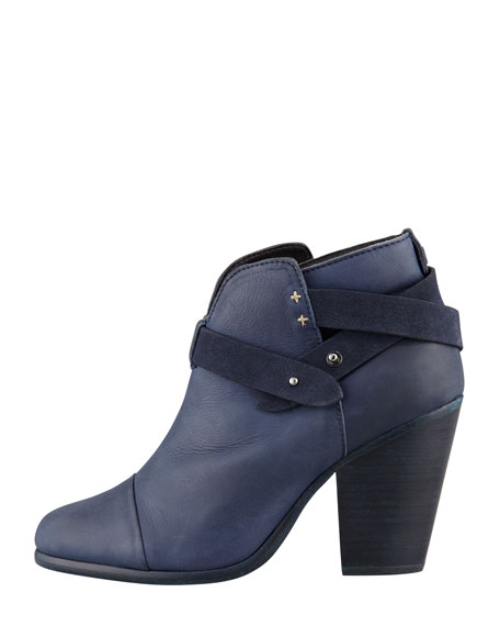 Rag & Bone Harrow Leather Ankle Boot, Navy