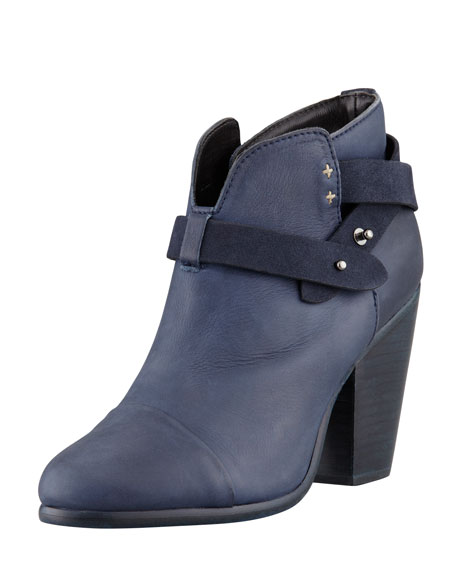Harrow Leather Ankle Boot, Navy