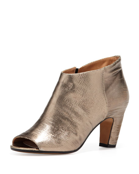 Leather Peep-toe Metallic Ankle Bootie