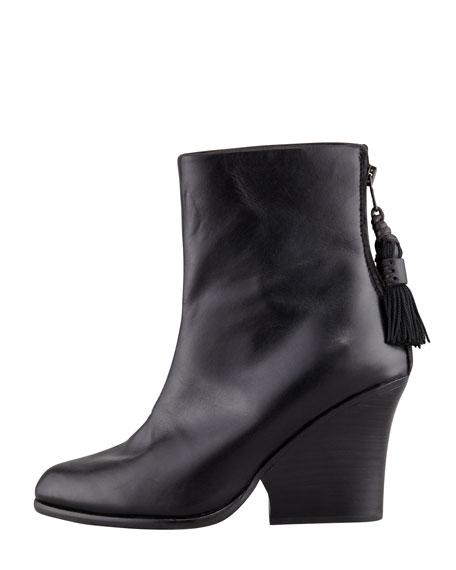 Tacita Tassel Wedge Ankle Boot, Black