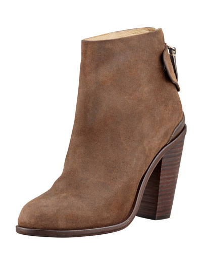 Rag & Bone Kerr Back-Tab Leather Ankle Boot, Brown