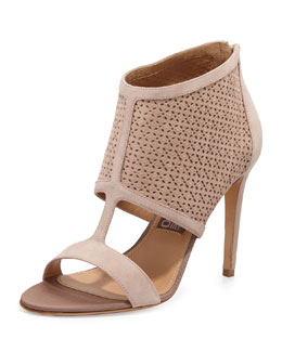 Salvatore Ferragamo Pacella Perforated Peep-Toe Bootie