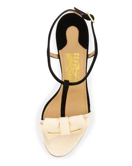 Pavi Suede Bow Sandal, Black