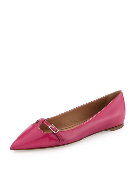 Patty Patent Point-Toe Flat, Agata Rose
