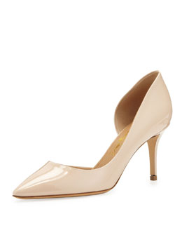 Salvatore Ferragamo Pam Patent Leather d'Orsay Pump, Nude