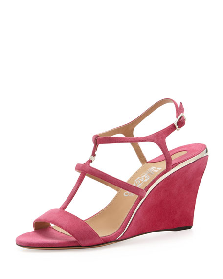 Pakuna Suede T-Strap Wedge, Agata Rose