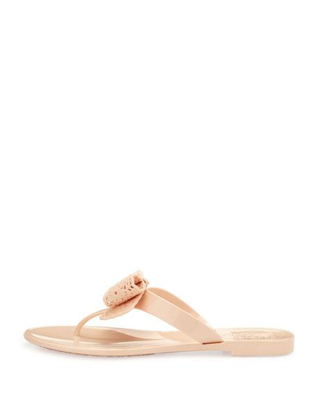 Pandy Lace Bow Jelly Thong Sandal, Rose Quartz