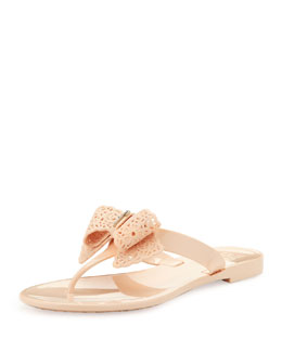 Salvatore Ferragamo Pandy Lace Bow Jelly Thong Sandal, Rose Quartz