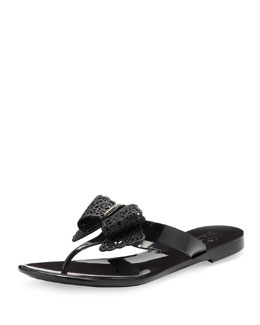 Salvatore Ferragamo Pandy Jelly Thong Sandal with Lace Bow, Nero