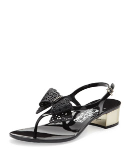 Salvatore Ferragamo Perla Jelly Thong Sandal with Lace Bow, Nero