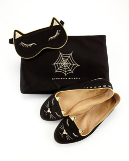Charlotte Olympia Satin Kitty Slippers & Eye Mask Set, Black