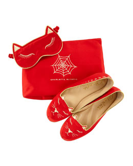 Charlotte Olympia Satin Kitty Slippers & Eye Mask Set, Red