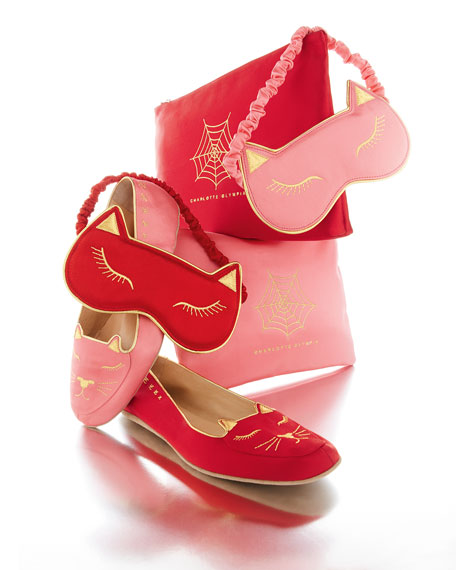 Charlotte Olympia Satin Kitty Slippers & Eye Mask Set, Pink