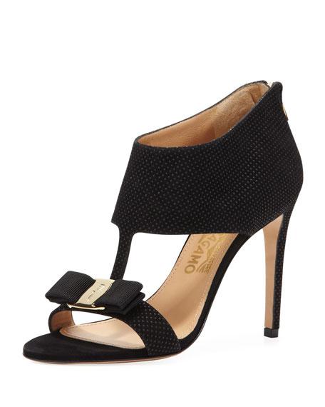 Pellas Suede T-Strap Bow Sandal
