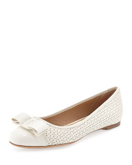 Salvatore Ferragamo Varina Perforated Ballerina Flat