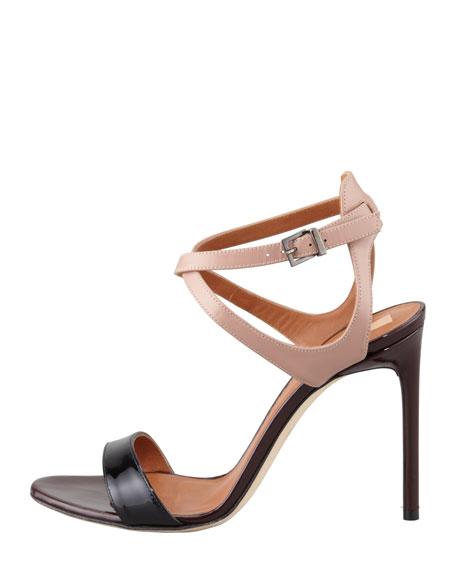 Tricolor Ankle Harness Sandal, Black/Nude