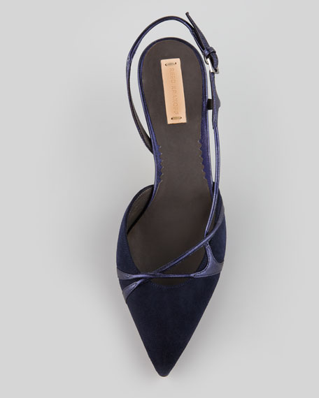 Suede Point-Toe Slingback Pump, Navy