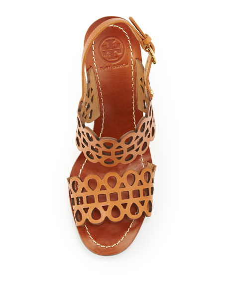 Tory Burch Nori Laser-Cut Wedge Sandal, Vintage Vachetta