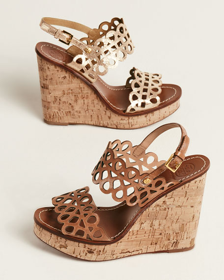 Tory Burch Laser Cut Wedge Sandals clearance best sale the best store to get outlet in China ZjaYzciAAi