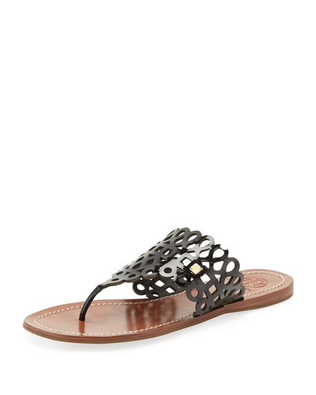 Davy Laser-Cut Thong Sandal, Black