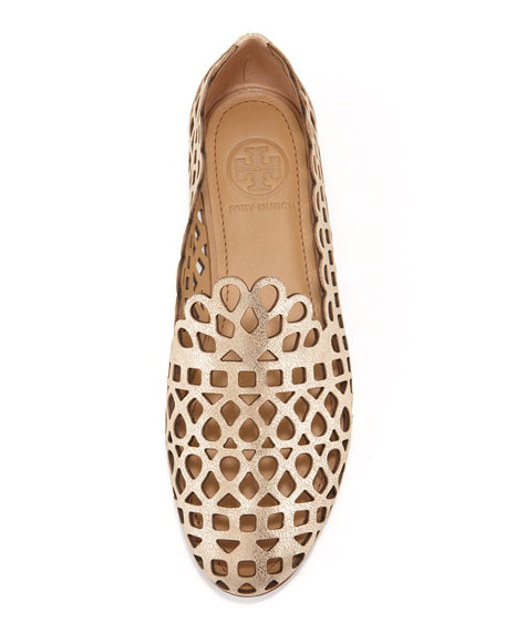 Fiona Laser-Cut Smoking Slipper, Platinum