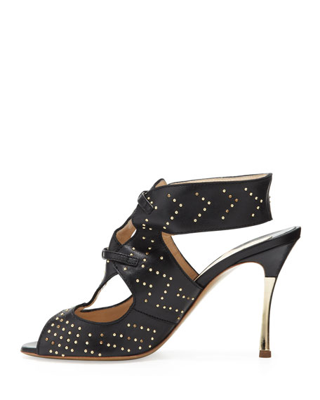 Studded Leather Sandal, Black/Gold