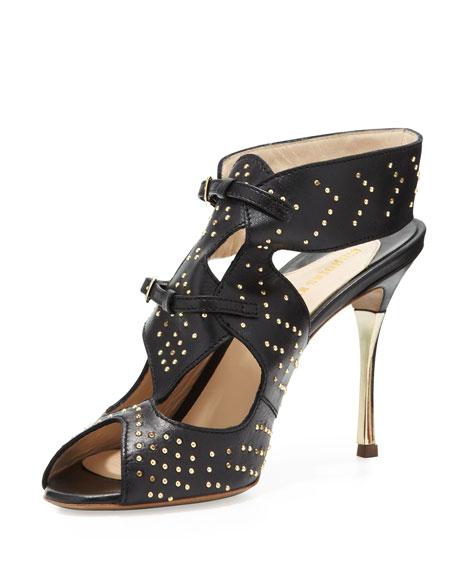 Studded Leather Sandal, Black/Gold