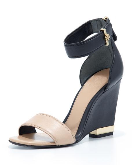 Carolyn Leather Wedge Sandal, Beige/Black