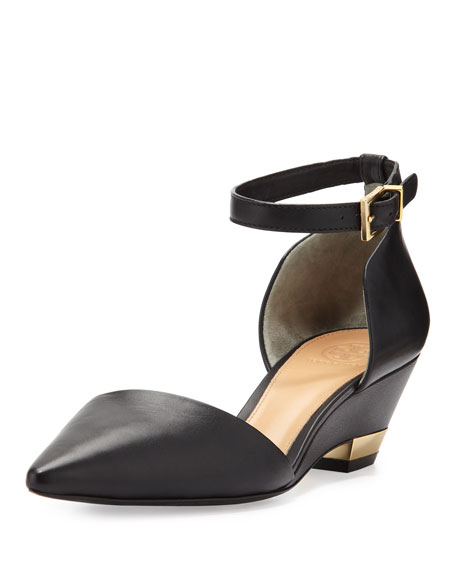 Mackenna Pointed-Toe Micro Wedge Pump, Black
