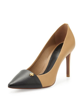 Tory Burch Crawford Colorblock Pointy Pump, Honey Wheat/Black