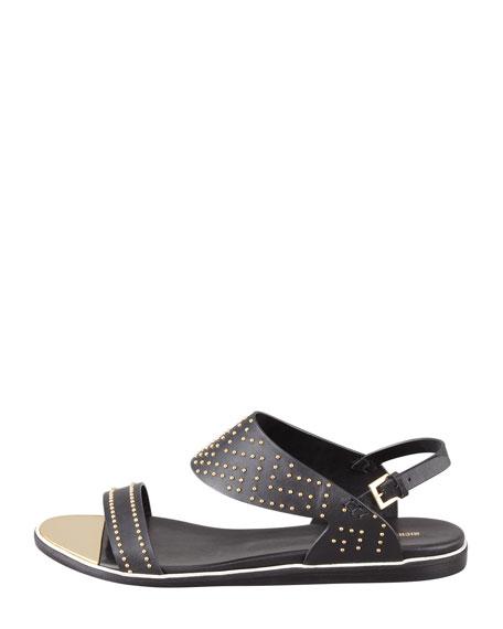 Studded Flat Leather Sandal, Black