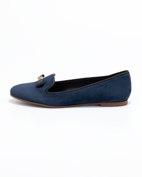 Mimi Suede Smoking Slipper, Bright Navy