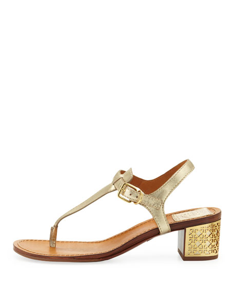Audra Leather Plate-Heel Thong Sandal, Platinum