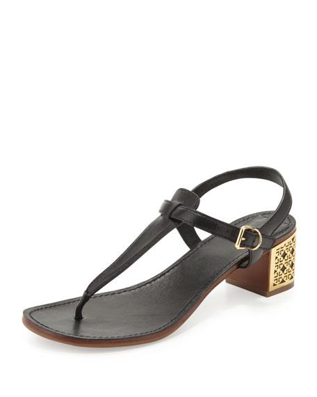Audra Logo-Heel Thong Sandal