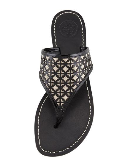 Amara Laser-Cut Patent Thong Sandal, Black/Natural